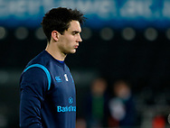 Leinster's Joey Carbery during the pre match warm up<br /> <br /> Photographer Simon King/Replay Images<br /> <br /> Guinness PRO14 Round 19 - Ospreys v Leinster - Saturday 24th March 2018 - Liberty Stadium - Swansea<br /> <br /> World Copyright © Replay Images . All rights reserved. info@replayimages.co.uk - http://replayimages.co.uk