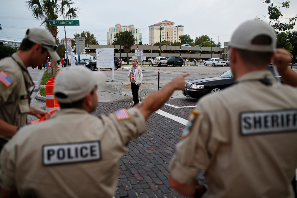 A patron of the 2012 Republican National Convention in Tampa, Fla. tries to get directions August 29, 2012.