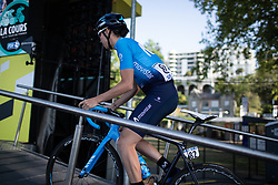 Aude Biannic (FRA) of Movistar Women's Team rides to the sign-on podium before La Course by Le Tour de France, a 121 km road race starting and finishing in Pau, France on July 19, 2019. Photo by Balint Hamvas/velofocus.com