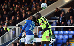 Ivan Toney of Peterborough United jumps for a header with Yoan Zouma of Bolton Wanderers - Mandatory by-line: Joe Dent/JMP - 14/12/2019 - FOOTBALL - Weston Homes Stadium - Peterborough, England - Peterborough United v Bolton Wanderers - Sky Bet League One