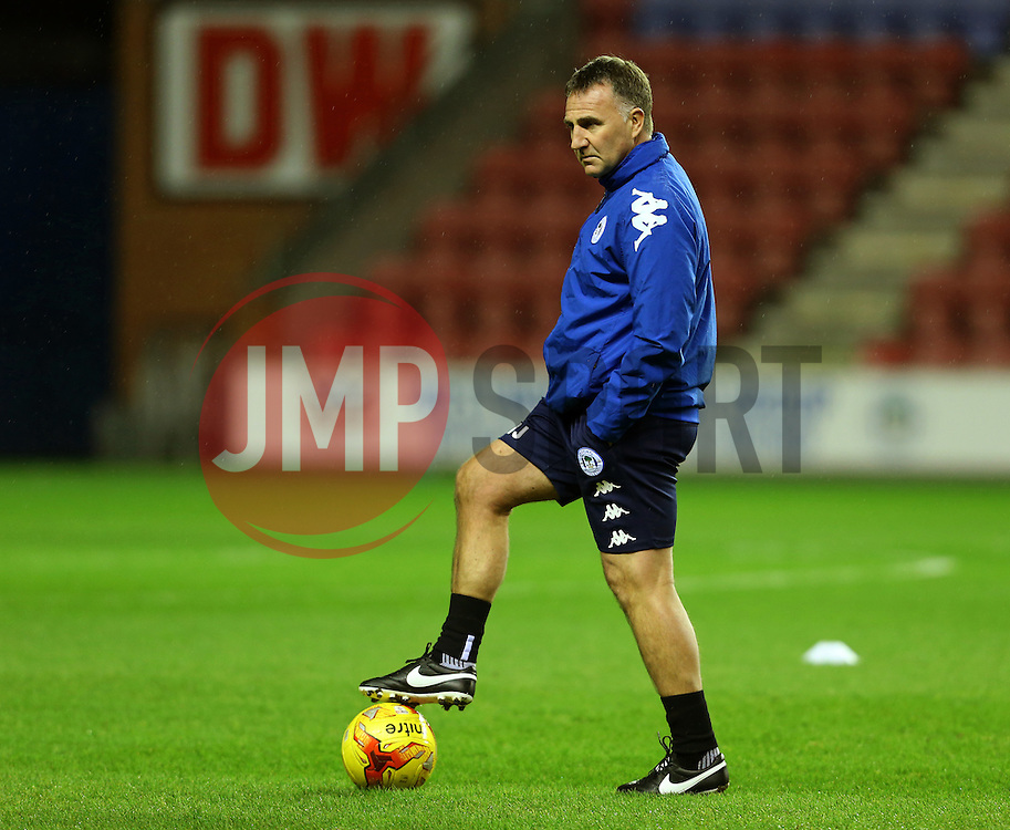 Wigan Athletic manager Warren Joyce watches his players warm up - Mandatory by-line: Matt McNulty/JMP - 03/02/2017 - FOOTBALL - DW Stadium - Wigan, England - Wigan Athletic v Sheffield Wednesday - Sky Bet Championship