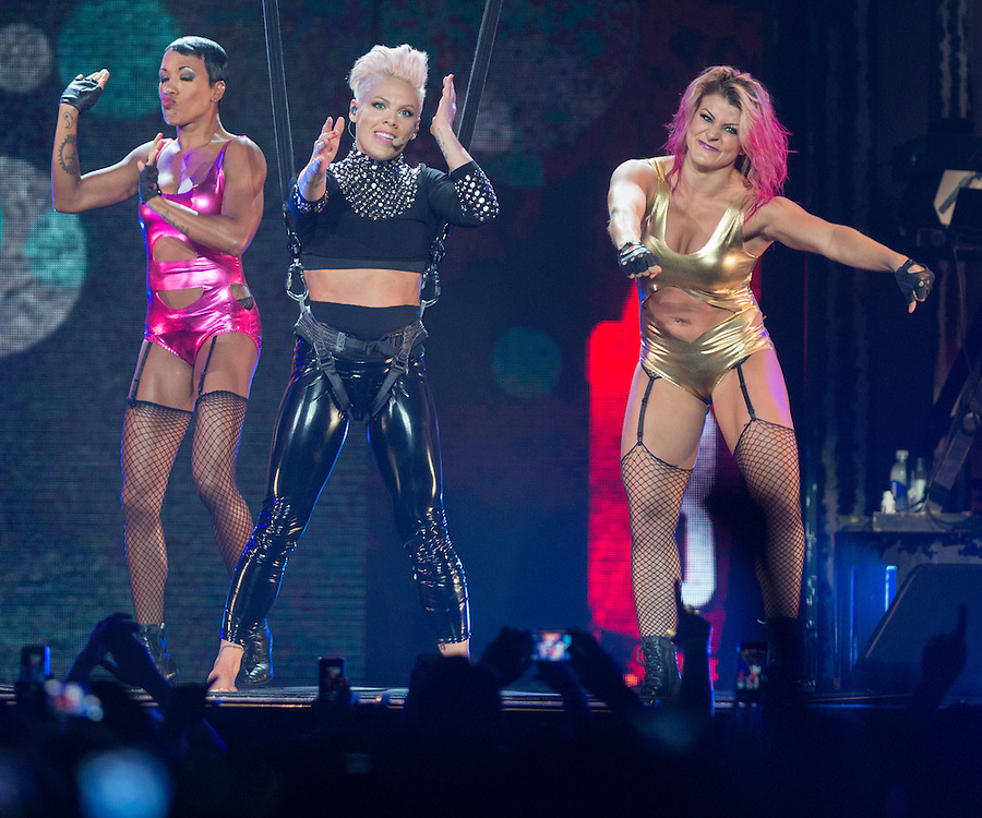 Pink performs with some of her dancers Saturday during her set at Staples Center October 12, 2013.