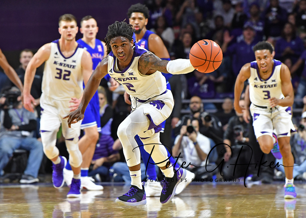 MANHATTAN, KS - February 05:  Cartier Diarra #2 of the Kansas State Wildcats chases down a loose ball during the second half against the Kansas Jayhawks on February 5, 2019 at Bramlage Coliseum in Manhattan, Kansas.  (Photo by Peter G. Aiken/Getty Images) *** Local Caption ***  Cartier Diarra