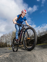 A new bike park for mountain bikers has opened in the centre of Edinburgh. The Skelf Bike park has a 900m2 &quot;Pump Track&quot; of banked corners and mounds. The park opens today and had professional riders trying out the new track.<br /> <br /> Pictured: Scottish Mountain Bike team member, Isla Shot. Isla rides with the professional team OMX-Pro Team