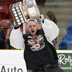 TRENTON, ON  - MAY 6,  2017: Canadian Junior Hockey League, Central Canadian Jr. &quot;A&quot; Championship. The Dudley Hewitt Cup Championship Game between The Trenton Golden Hawks and The Georgetown Raiders. Elliot Gerth #30 of the Trenton Golden Hawks during post game celebrations. <br /> (Photo by Amy Deroche / OJHL Images)