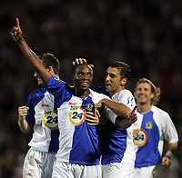 Photo: Paul Thomas.<br /> Blackburn Rovers v SV Red Bell. UEFA Cup. 28/09/2006.<br /> <br /> Benni McCarthy of Blackburn celebrates his goal with team mates Andre Ooijer (L), Zurab Khizanishvili (C) and Robbie Savage (R).