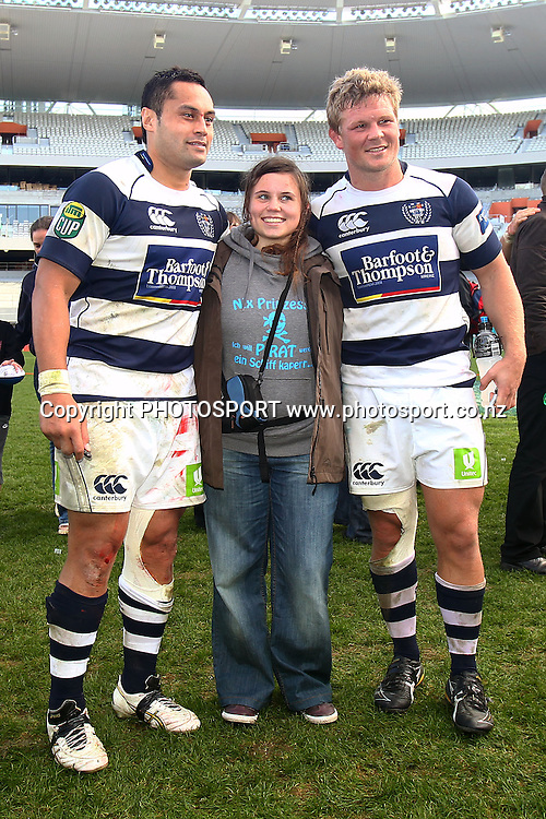 Auckland's Daniel Braid and Ben Atiga take a photo with a fan. ITM Cup rugby union match, Auckland v Northland at Eden Park, Auckland, New Zealand. Sunday 22nd August 2010. Photo: Anthony Au-Yeung/PHOTOSPORT