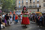 Large costume of a woman or goddess in the parade celebrating the festival of Ganesh Chaturthi, marking the birth of the Hindu god Ganesha, on the streets of the La Chapelle area of the 18th arrondissement of Paris, France, on Sunday 1st September 2019. The annual religious festivities and parade take place near the Ganesha Temple of Paris, or Sri Manicka Vinayakar Alayam Temple, the largest Hindu temple in France. Ganesha is the elephant-headed Hindu God of Beginnings, son of Shiva and Parvati, who represents love and knowledge. Picture by Manuel Cohen