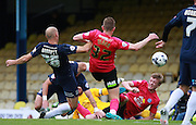 Southend player Adam Barrett hooks home the ball to open the scoring during the Sky Bet League 1 match between Southend United and Peterborough United at Roots Hall, Southend, England on 5 September 2015. Photo by Bennett Dean.