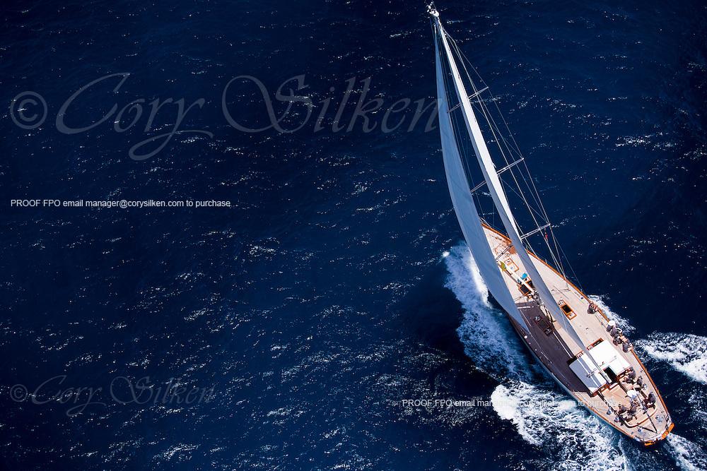 Aurelius sailing in the Antigua Classic Yacht Regatta, Butterfly Race.