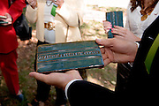 "18414Academic & Research Center Groundbreaking September 29, 2007...Groundbreaking.Guests picking up ""Academic & Research Center"" Athens-style bricks"