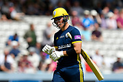 Wicket - Joe Weatherley of Hampshire looks dejected as he walks back to the pavilion after being dismissed by Lewis Gregory of Somerset during the Royal London 1 Day Cup Final match between Somerset County Cricket Club and Hampshire County Cricket Club at Lord's Cricket Ground, St John's Wood, United Kingdom on 25 May 2019.