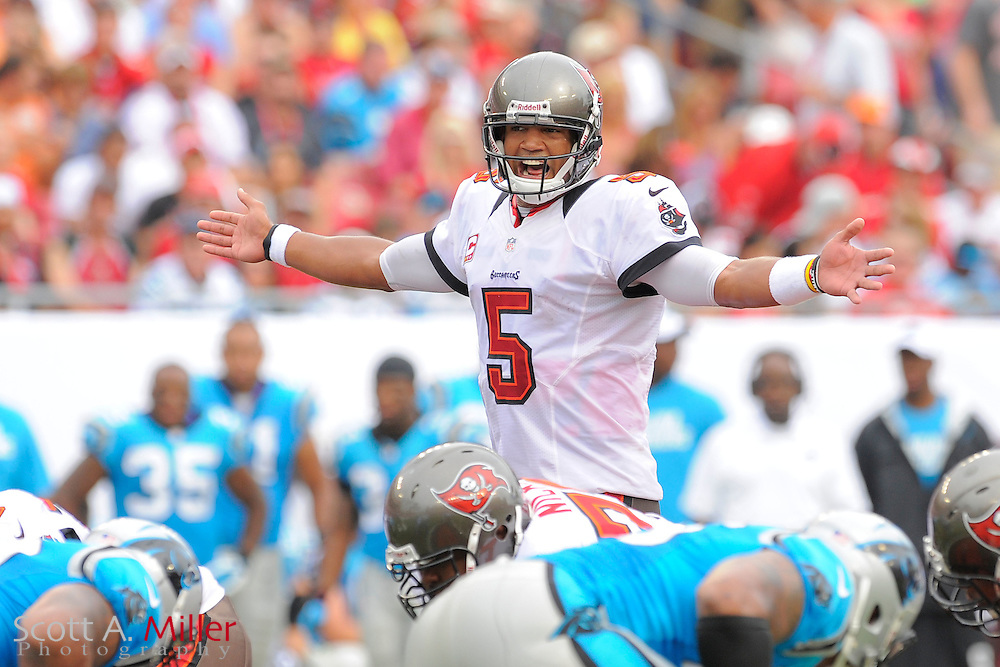 Tampa Bay Buccaneers quarterback Josh Freeman (5) in action against Carolina Panthers at Raymoind James Stadium  on September 9, 2012 in Tampa, Florida. ..(SPECIAL TO FOXSPORTS.COM/Scott A. Miller)...