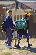 GOBI DESERT, MONGOLIA..09/03/2001.Bayanhongor (Bayankhongor). School girls..(Photo by Heimo Aga).