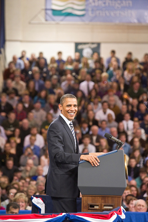 President Obama during his visit to Northern Michigan University February 2011.