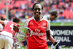 Danielle Carter of Arsenal Ladies with the SSE Women's FA Cup - Mandatory byline: Jason Brown/JMP - 14/05/2016 - FOOTBALL - Wembley Stadium - London, England - Arsenal Ladies v Chelsea Ladies - SSE Women's FA Cup