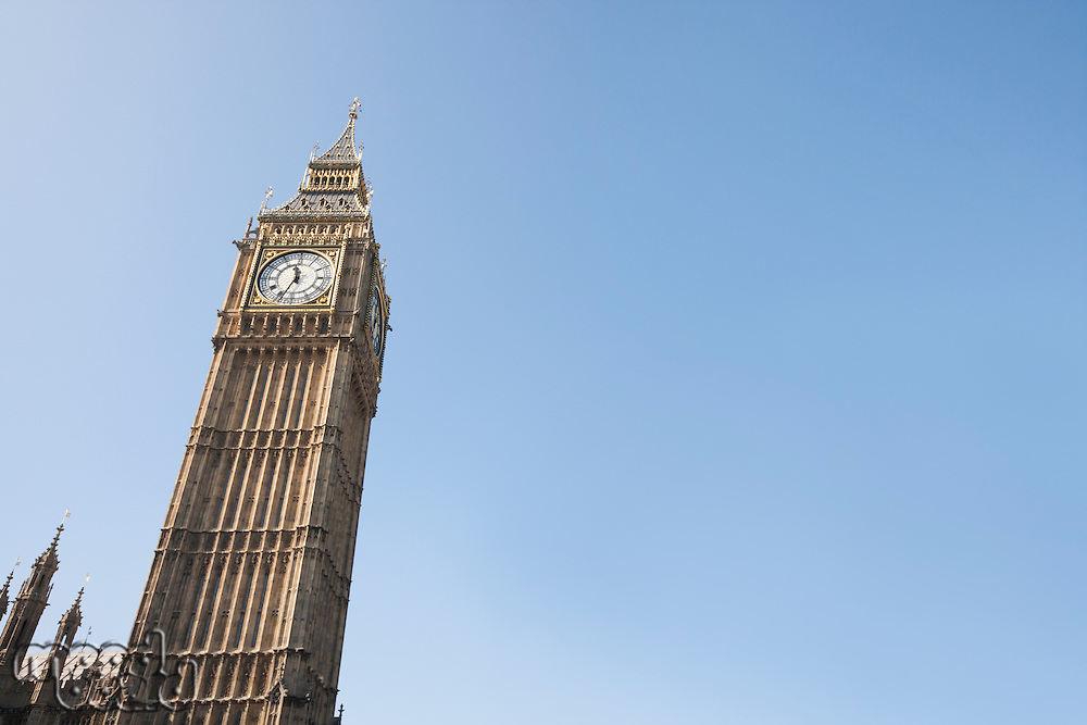 Low angle view of Big Ben against clear sky at London; England; UK