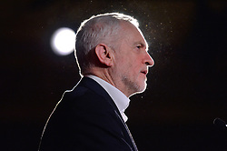 © Licensed to London News Pictures. 25/01/2018. London, UK. Labour leader JEREMY CORBYN MP makes a speech at a rally to demand the government introduces an emergency budget for the NHS to end the winter crisis. Photo credit: Ray Tang/LNP