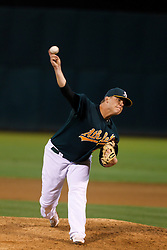 June 28, 2011; Oakland, CA, USA; Oakland Athletics relief pitcher Andrew Bailey (40) pitches against the Florida Marlins during the ninth inning at the O.co Coliseum. Oakland defeated Florida 1-0.
