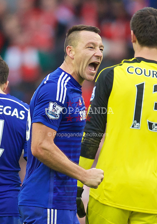 LIVERPOOL, ENGLAND - Saturday, November 8, 2014: Chelsea's captain John Terry celebrates after the 2-1 victory over Liverpool the Premier League match at Anfield. (Pic by David Rawcliffe/Propaganda)
