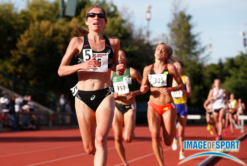 May 4, 2014; Stanford, CA, USA; Sara Hall places third in the womens steeplechase in 9:42.10 in the 2014 Payton Jordan Invitational at Cobb Track & Angell Field. Photo by Spencer Allen