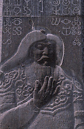 Mongolia. Gengis khan statue at  first capital of his empire on the stone the symbols of the 800 horses family  Kodo aral