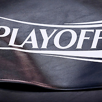 06 May 2016:  Close view of the NBA Playoffs logo prior to the San Antonio Spurs 100-96 victory over the Oklahoma City Thunder, during Game Three of the Western Conference Semifinals of the NBA Playoffs at the Chesapeake Energy Arena, Oklahoma City, Oklahoma, USA.