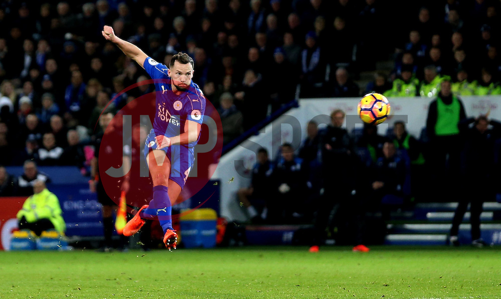 Daniel Drinkwater of Leicester City scores a goal to make it 2-0 - Mandatory by-line: Robbie Stephenson/JMP - 27/02/2017 - FOOTBALL - King Power Stadium - Leicester, England - Leicester City v Liverpool - Premier League
