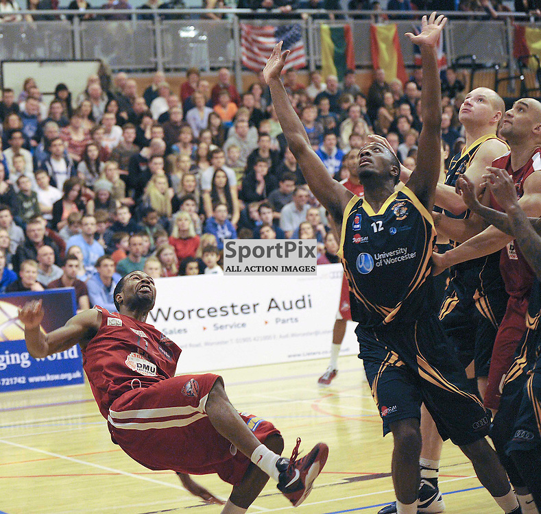 Zaire Taylor goes down during the BBL Play off match between Worcester Wolves V Jelson Homes DMU Leicester Riders at Worcester University on the 1st March 2013 WAYNE NEAL | STOCKPIX.EU