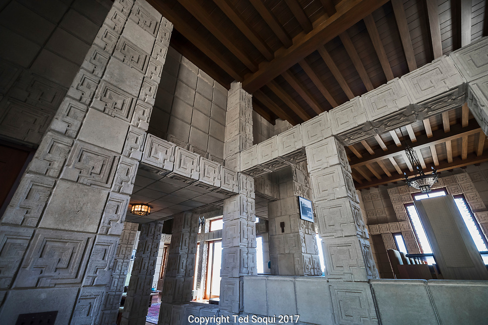 The Ennis House designed by Frank Lloyd Wright.<br /> Entrance view.