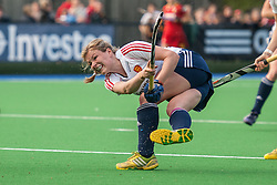 England's Hollie Webb shoots at a penalty corner. England v Belgium, Bisham Abbey, Marlow, UK on 09 May 2014. Photo: Simon Parker