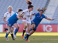 Abigail Brown in action, England Women v Italy Women in Women's 6 Nations Match at Twickenham Stoop, Twickenham, England, on 15th February 2015. Final score 39-7.