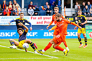 Luton Town forward Elliot Lee (10) shoots towards the goal during the EFL Sky Bet League 1 match between Luton Town and Oxford United at Kenilworth Road, Luton, England on 4 May 2019.