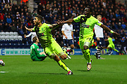 Huddersfield Striker Nakhi Wells celebrates during the Sky Bet Championship match between Preston North End and Huddersfield Town at Deepdale, Preston, England on 6 February 2016. Photo by Pete Burns.