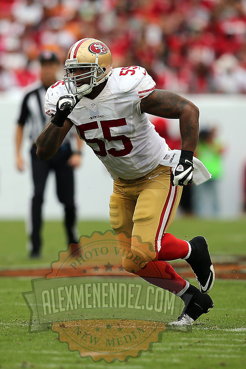 San Francisco 49ers outside linebacker Ahmad Brooks (55) during an NFL football game between the San Francisco 49ers  and the Tampa Bay Buccaneers on Sunday, December 15, 2013 at Raymond James Stadium in Tampa, Florida.. (Photo/Alex Menendez)