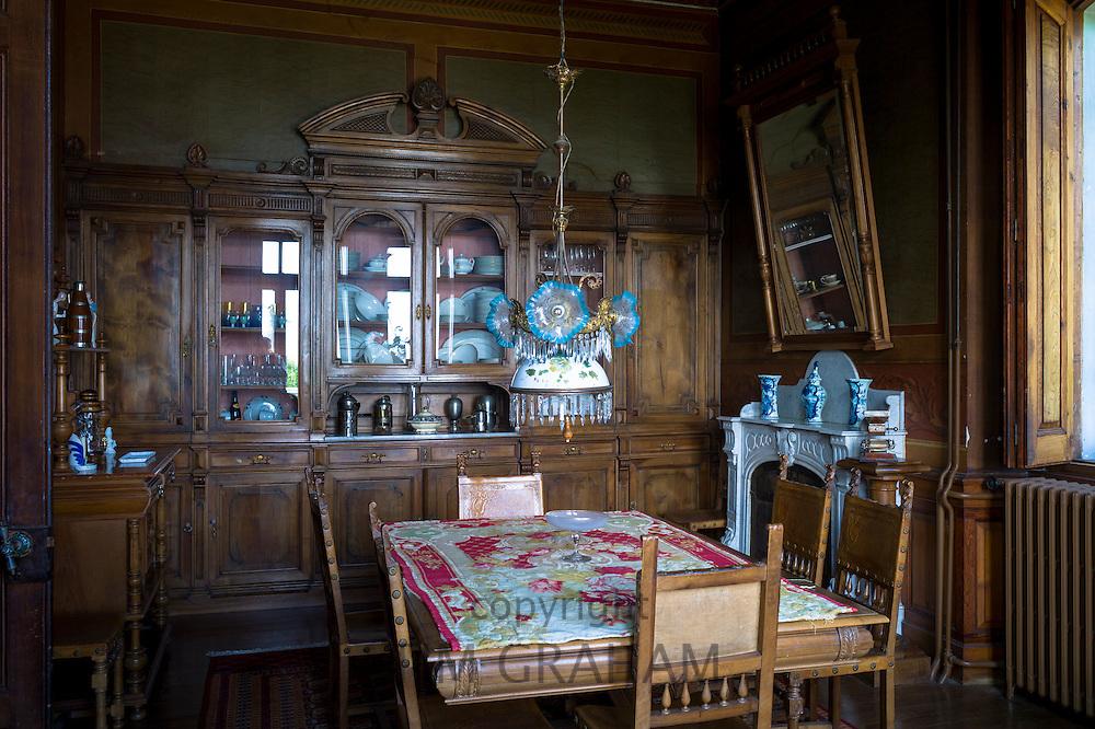 Salon interior of La Casona, traditional Indianos house designed by architect Garcia Nava, built 1900 in village of Samao, Asturias, Spain