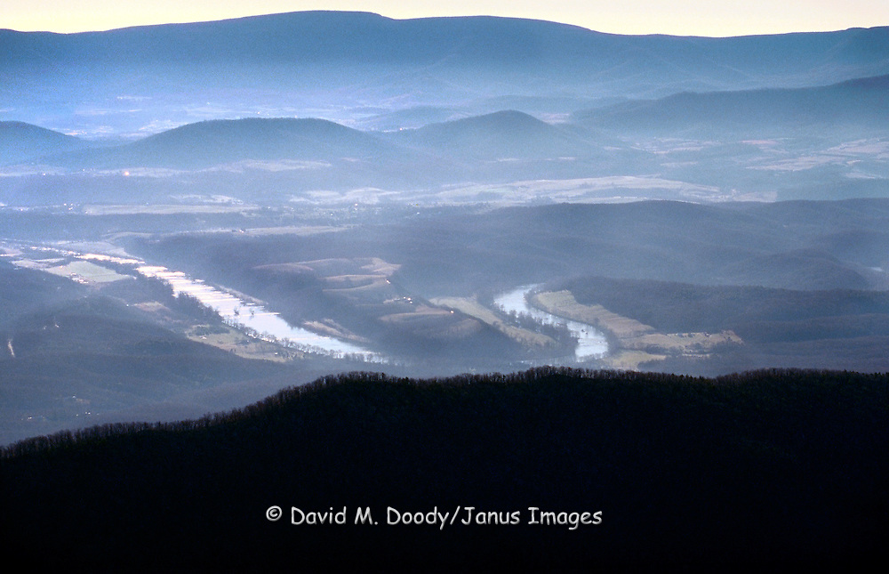 Aerial: South Fork of the Shenandoah River from over Massanutten Mtn. looking east, Virginia.