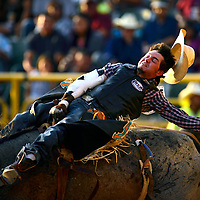 070413  Adron Gardner/Independent<br /> <br /> Sam Stewart loses his hat during a bronco ride at the PRCA 4th of July Rodeo at the Navajo Nation Fairgrounds in Window Rock Thursday.