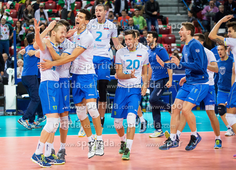 Tine Urnaut #17 of Slovenia, Dejan Vincic #9 of Slovenia, Alen Sket #5 of Slovenia, Alen Pajenk #2 of Slovenia, Uros Pavlovic #20 of Sloveniacelebrate after winning during volleyball match between National teams of Slovenia and Italy in 1st Semifinal of 2015 CEV Volleyball European Championship - Men, on October 17, 2015 in Arena Armeec, Sofia, Bulgaria. Photo by Vid Ponikvar / Sportida