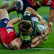 Beauden Barrett scores during the Super rugby union game (Round 14) played between Hurricanes v Reds, on 18 May 2018, at Westpac Stadium, Wellington, New  Zealand.    Hurricanes won 38-34.