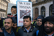 """France, Paris, 12 December 2017. Protest organised by Bangladesh Nationalist Party following on from the visit of """"Bangladeshi Prime Minister"""" Sheak Hasina to attend to One Planet Summit held in Paris."""