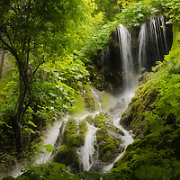 Waterfall in green jungle