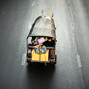 Moving Bangkok traffic viewed from above