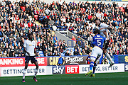 Bolton's Gary Madine  gets the header on goal during the EFL Sky Bet League 1 match between Bolton Wanderers and Oldham Athletic at the Macron Stadium, Bolton, England on 15 October 2016. Photo by Craig Galloway.