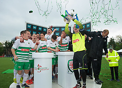 NEWTOWN, WALES - Saturday, May 2, 2015: The New Saints captain goalkeeper Paul Harrison lifts the Welsh Cup trophy after the 2-0 victory over Newtown in the FAW Welsh Cup Final match at Latham Park. (Pic by Ian Cook/Propaganda)