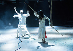 © Licensed to London News Pictures. 11/01/2016. London, UK. Khan's debut performance at the Roundhouse, Until the Lions is inspired by the ancient Sanskrit epic The Mahabharata and combines the Indian dance form Kathak with contemporary dance to explore themes of gender and sexuality. Featuring dancers Akram Khan & Ching-Ying Chien. Photo credit : Tony Nandi/LNP
