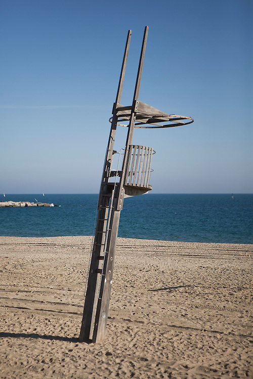 Lifeguard stand at Poblenou beach, Barcelona, Catalonia, Spain.