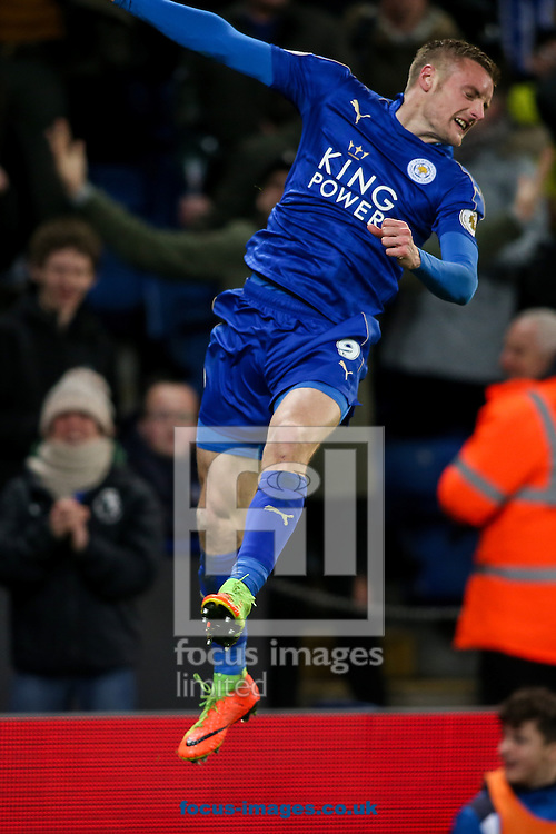 Jamie Vardy of Leicester City celebrates scoring a goal during the Premier League match at the King Power Stadium, Leicester<br /> Picture by Andy Kearns/Focus Images Ltd 0781 864 4264<br /> 27/02/2017