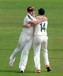 Nottinghamshire's Steven Mullaney celebrates after catching out Somerset's Johann Myburgh. - Photo mandatory by-line: Harry Trump/JMP - Mobile: 07966 386802 - 16/06/15 - SPORT - CRICKET - LVCC County Championship - Division One - Day Three - Somerset v Nottinghamshire - The County Ground, Taunton, England.