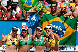 Brazilian teams Juliana-Larissa and Vivian Cunha-Taiana Lima with fans at A1 Beach Volleyball Grand Slam tournament of Swatch FIVB World Tour 2010, final, on July 31, 2010 in Klagenfurt, Austria. (Photo by Matic Klansek Velej / Sportida)